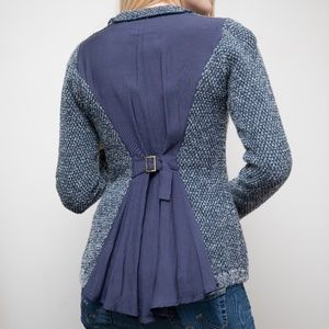 Knitted Zip up Jacket with Gathered Back